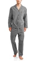 Hanes Men's Woven Pajama Set Long Sleeve & Pants Gray Black Plaid Size Small - $19.79