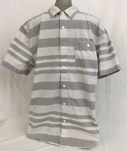 Levis Gray White Striped Shirt Size L Large Button Up Short Sleeve - £11.31 GBP