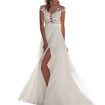 Cheap See-Through Boho Wedding Dress White,Beach Wedding Gown,Bridal Dress Gown  - $159.00