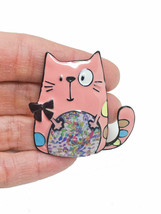 Cute Backpack Enameled Brooch Pink Kitty Cat Pin C Clasp Animal Lover Je... - $10.77