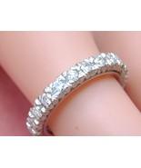 VINTAGE MID-CENTURY 1.30ctw DIAMOND PLATINUM ETERNITY BAND RING 1950 siz... - $1,563.21