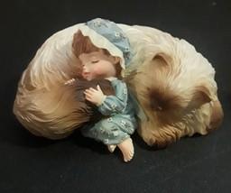 Cat with Kid Baby Figurine Cat Nap Sleeping Resin Decorative  - $14.80