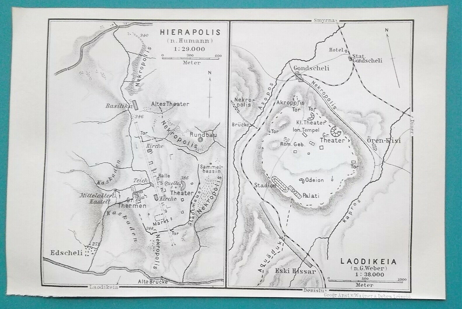 "Primary image for TURKEY Plan of Hierapolis & Laodicea - 1914 MAP Baedeker 4 x 6"" (10 x 15,5 cm)"