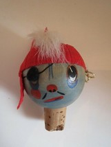 Whimsical Mid Century Wooden Pirate Scallywag Wine Liquor Cork Bottle St... - $4.85