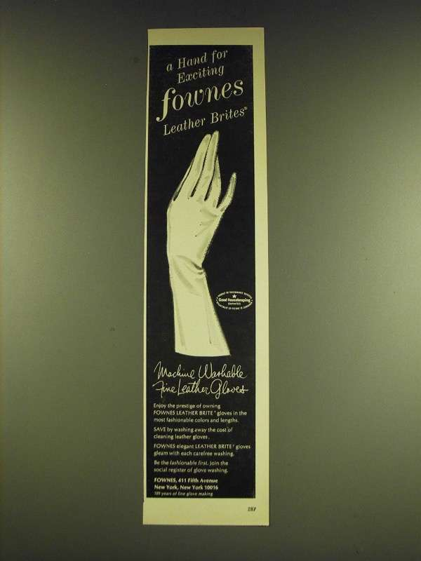 1966 Fownes Leather Brite Gloves Ad - A hand for exciting Fownes leather brites