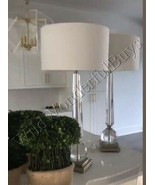Sphere Crystal Buffet Table Lamp 38H Column Drum Lampshade Hollywood Luxe - $375.80