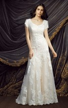 Scoop V Back A Line Short Sleeves Court Train Long White Lace Wedding Dress  - $145.00