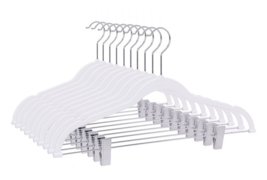 High Quality ABS Plastic Skirt Hangers with Hooks White, 80Pcs - $82.00