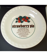 """Deep Dish Pie Plate STRAWBERRY Recipe crimped fluted edges 10"""" - $12.84"""
