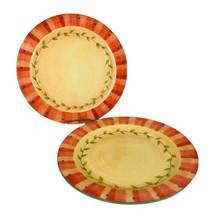 "2 Pfaltzgraff Napoli Dinner Plates Flowers 11 3/4"" Hand Painted Stoneware Set - $19.65"