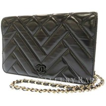 CHANEL Chain Wallet Lambskin Black Matelasse Quilting AP0808 Italy Authe... - $2,388.85