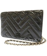 CHANEL Chain Wallet Lambskin Black Matelasse Quilting AP0808 Italy Authentic
