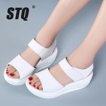 la sandals 2018 Toe Open Sandalias Platform STQ summer white women wedge sandals 7PqxSO