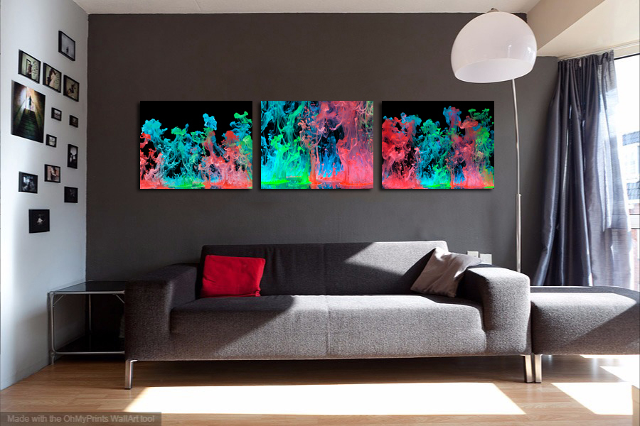 "Abstract Metal Print Wall Decor Triptych-""Color Hydration"""