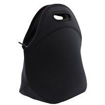Black Neoprene Lunch Bag Insulated Lunch Box Tote for Women Men Adult Kids Teens - $12.86