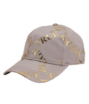 True Religion Mens Gold Metallic All Over Print Cap Sport Strapback Baseball Hat image 2