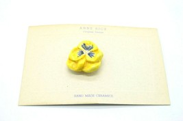 Anne Rice Saranac Ceramics Painted Yellow Blue Paisley Flower Pin Brooch... - $24.74