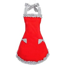 Hyzrz Cute Red Cotton Ruffle Youth Girls Apron Kitchen Cooking Aprons fo... - $9.68