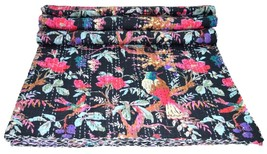 VINTAGE BLANKET THROW REVERSIBLE KANTHA QUILT HANDMADE BEDSPREAD INDIAN ... - $56.10