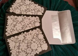 Lot of 3~Hallmark Cards~cutout flowers-glittered~~ silver-lined White En... - $5.36