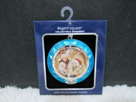 2017 Regent Square Collectible Blue Round Ornament with Fine European Cr... - $9.95