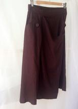 Women Long Wrap Skirt Summer Linen Cotton Skirt Elastic Waist Brown Black Gray image 3