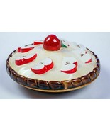 VINTAGE OVER AND BACK PORTUGAL CERAMIC APPLE PIE KEEPER BAKING DISH & LID - $19.47