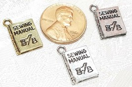 SEWING MANUAL FINE PEWTER PENDANT CHARM - 12x17x2mm image 2
