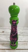 10 inch Green W/Purple Samurai Wood Pepper Mill Salt Grinder grinding ro... - $19.75