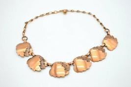 Pcraft Genuine Copper Modernist Leaf Choker Necklace Vintage 16 inches - $24.74