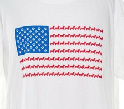 Dog Puppy USA Flag 2XL Graphic Tee White Short Sleeve Unique Rare Dog Lo... - $13.79