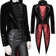 Men Punk Tailcoat Jacket Black Velvet Gothic Vampire Coat Steampunk Swallowtail - $129.99