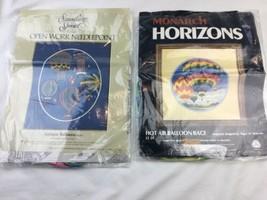 Vtg Horizons hot AIR BALLOON Needlepoint Kit Longstitch - Both Missing C... - $23.73