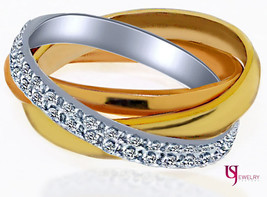 0.80 Carat Diamond Trinity Eternity Wedding Ring Women's 18k Multi-Tone ... - £1,429.57 GBP