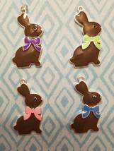 Chocolate Easter Bunny Necklace, Enamel, Silvertone - $3.99