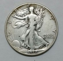1938D Walking Liberty Half Dollar 90% Silver Coin Lot# EA 340