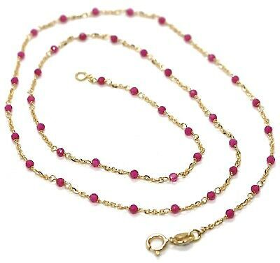 Necklace Yellow Gold 18K 750, Cubic Zircon Red, Faceted, Chain Rolo ' Oval