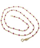 Necklace Yellow Gold 18K 750, Cubic Zircon Red, Faceted, Chain Rolo ' Oval - $327.24