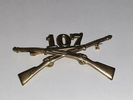 Army Officer's Collar Pin 107th Infantry Regiment Pin Back Button Brass Military - $11.88