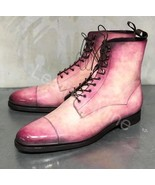 Men's Handmade Pink Patina Derby Dress Boots Custom Made Boots For Men - $169.99+