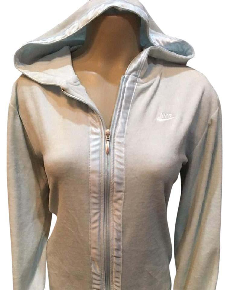 Nike Powder Blue zip front velour athletic sport hoodie jacket Large L