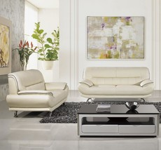American Eagle EK-B118 Modern Ivory Genuine Leather Living Room Sofa Set... - $1,553.25