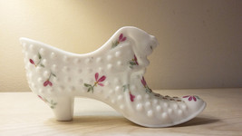Vintage Milk  Glass Small Shoe  Beautiful condition- signed - $23.76