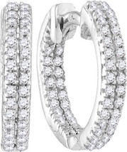10kt White Gold Womens Round Diamond Hoop Fashion Earrings 1/5 Cttw - $149.18
