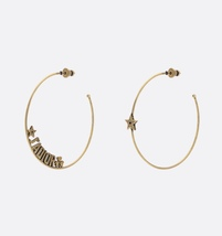 AUTHENTIC Christian Dior LIMITED EDITION J'ADIOR LARGE HOOP EARRINGS GOLD