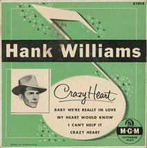 VINTAGE HANK WILLIAMS CRAZY HEART CARDBOARD RECORD SLEEVE - NO RECORD -4... - $4.49