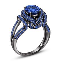 Princess Womens Blue Sapphire Engagement Ring 14k Black Finish 925 Silver - £57.85 GBP
