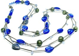 """NECKLACE MULTI WIRES TUBE BLUE DROP SPHERE PETALS MURANO GLASS 90cm 35.4"""" LONG image 1"""