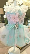 XS/S Yorkie Puppy Pomm Chihuahua Sea Foam Lace Fluffy Tutu Party Dress B... - $29.99