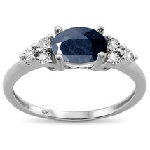 1.29ct 10k White Gold Oval Blue Sapphire & Diamond Ring - $268.97